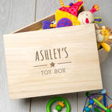 Dust and Things Large Engraved Wooden Children's Personalised Toy Box