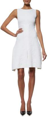 Chanel White Stretch Knit Embroidered Dress