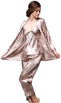 Liveinu Women's Pajama Sets Elegance 5pcs Silk Pj Sleepwear XL