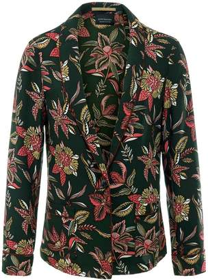 Maison Scotch Multi Floral Print Pajamera Jacket - XS - Black/Red