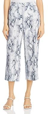 T Tahari Snakeskin Print Cropped Wide Leg Pants