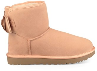 UGG Light Pink Satin Bow Mini Boot