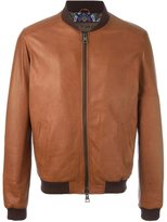 Etro zipped leather jacket - men - Cotton/Sheep Skin/Shearling/Polyester/Viscose - XL