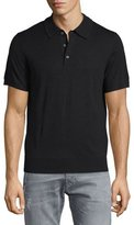 Neiman Marcus Short-Sleeve Cashmere-Silk Polo Shirt, Black
