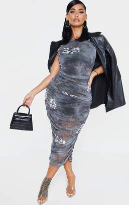 PrettyLittleThing Shape Black Oriental Print Sleeveless Midi Dress