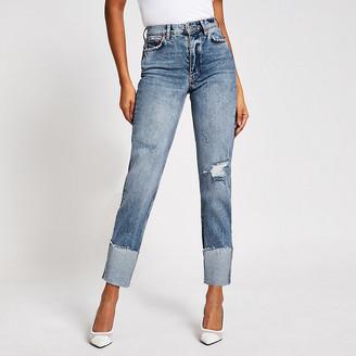 River Island Blue ripped Blair high rise straight jeans