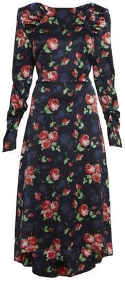 Magda Butrym Ruched Floral Silk Midi Dress
