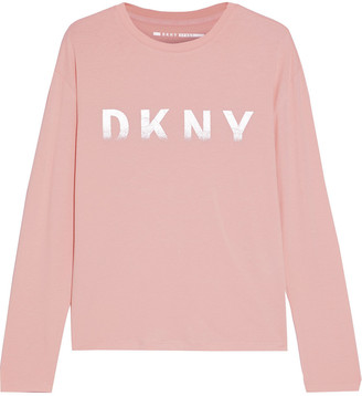 DKNY Metallic Printed Stretch Cotton And Modal-blend Jersey Top