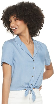 Candies Juniors' Candie's Knotted Front Camp Shirt
