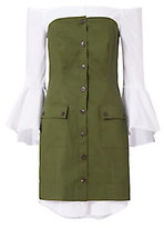 Exclusive for Intermix Sinclair Poplin Underlay Dress: Olive