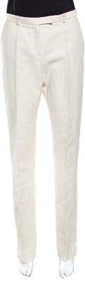 Fendi Beige Slubbed Linen High Waist Wide Leg Trousers S
