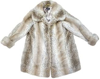 Dennis Basso White Faux fur Coat for Women Vintage