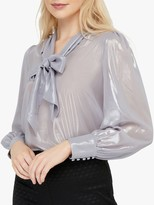 Monsoon Missy Metallic Pussybow Top, Silver