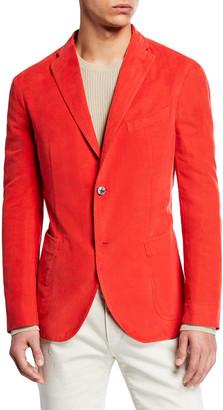 Boglioli Men's Corduroy Two-Button Jacket, Red