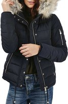 Topshop Women's Woody Faux Fur Hood Puffer Jacket