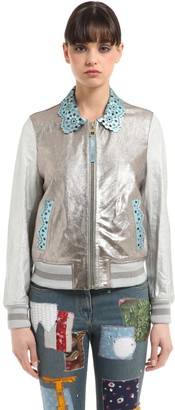 Tommy Hilfiger Collection Laminated Leather Bomber Jacket