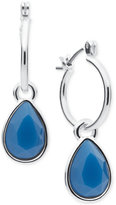 Nine West Silver-Tone Crystal Slider Hoop Earrings