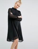 Monki Glitter Spot Smock Dress