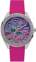 GUESS Women's Pink Silicone Strap Watch 44mm U0960L1