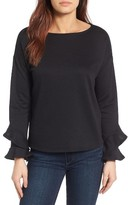 Gibson Petite Women's Ruffle Boat Neck Sweatshirt