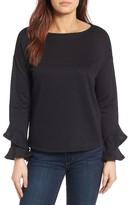Gibson Women's Ruffle Boat Neck Sweatshirt