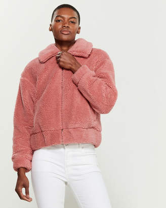 Lucky Brand Blush Pocketed Faux Fur Teddy Coat