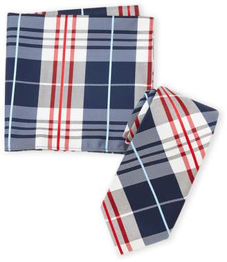 Nautica Red Plaid Tie & Pocket Square Set