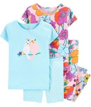 Carter's Baby Girls Floral Birds Snug Fit Pajamas, 4 Piece