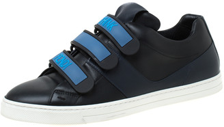 Fendi Black Leather Velcro Strap Low Top Sneakers Size 41