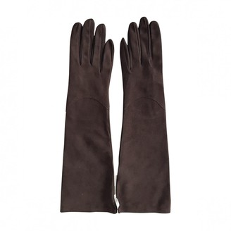 Rochas Brown Suede Gloves