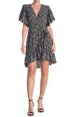Max Studio Floral Print Wrap Ruffle Dress