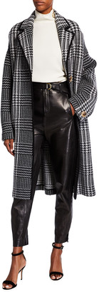 St. John Felted Prince Of Wales Plaid Knit Coat with Contrast Knit Trim Detail