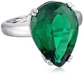 "Kenneth Jay Lane CZ by Special Occasion"" Green Pear CZ Glamorous Adjustable Ring, Size 5-7, 15 CTTW"