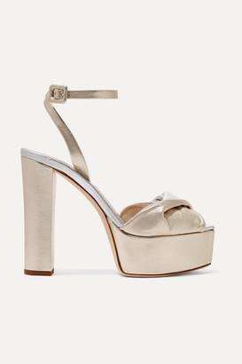 Giuseppe Zanotti Lavinia Metallic Leather Platform Sandals - Gold