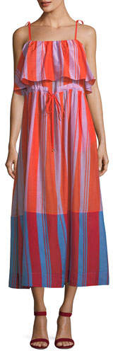 Diane von Furstenberg Sleeveless Striped Pleated Maxi Dress