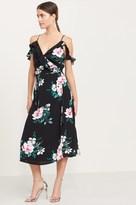 Dynamite Ruffled Cold Shoulder Maxi Dress