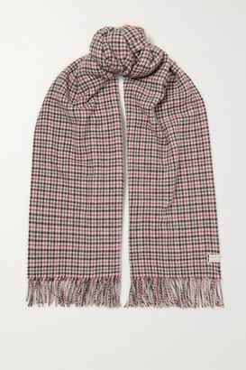 Rag & Bone Fringed Checked Wool Scarf - Gray