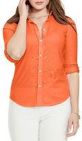 Lauren Ralph Lauren Plus Elizabeth Cotton Pique Button-Front Shirt