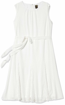 Taylor Dresses Taylor Women's Cap Sleeve Clip Dot Lace Insert Midi Dress