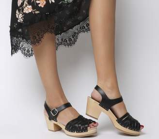 Swedish Hasbeens Braided Hi Peep Toe Sandals Black