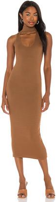 Enza Costa Silk Rib Detached Mockneck Sleeveless Midi Dress