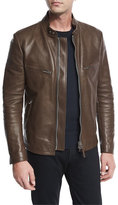 Tom Ford Leather Café; Biker Jacket, Brown