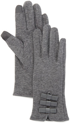 Jeanne Simmons Accessories Women's Casual Gloves Grey - Gray Bow-Accent Touchscreen Gloves