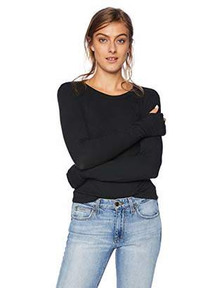 Enza Costa Women's Rib Cropped Long Sleeve Crew with Thumbholes