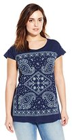 Lucky Brand Women's Plus-Size Embroidered Indigo Bandana T-Shirt