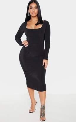 PrettyLittleThing Shape Burgundy Slinky Panelled Long Sleeve Midi Dress