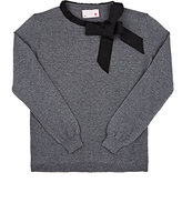 Lanvin GROSGRAIN-BOW WOOL SWEATER-GREY SIZE 12