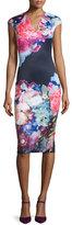 Ted Baker Brynee Cap-Sleeve Floral-Print Sheath Dress, Dark Blue
