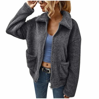 BUKINIE Women's Lightweight Fleece Jackets Long Sleeve Shaggy Full Zip Sherpa Hooded Coat Warm Winter Outwear(Dark Grey Medium)