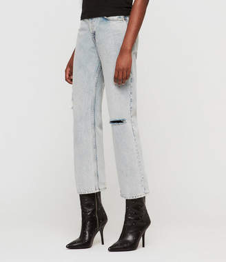 AllSaints Ava Straight High-Rise Ripped Jeans, Ice Blue